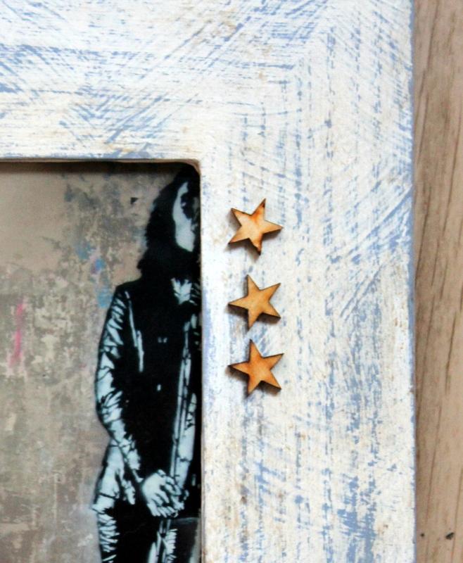 detalle marco de fotos pintado con chalk paint