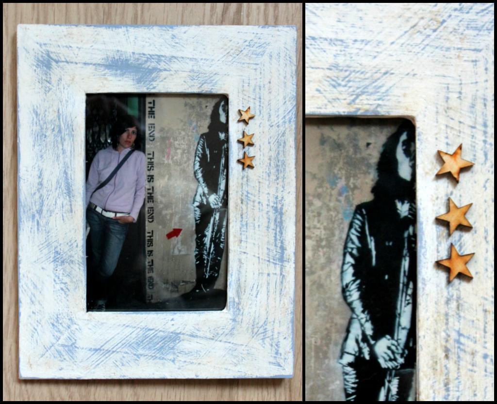 marco de fotos pintado con chalk paint