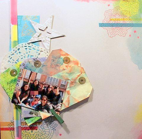 layout con tags con tintas distress